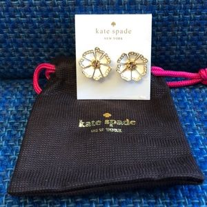 Kate Spade white and gold flower earrings